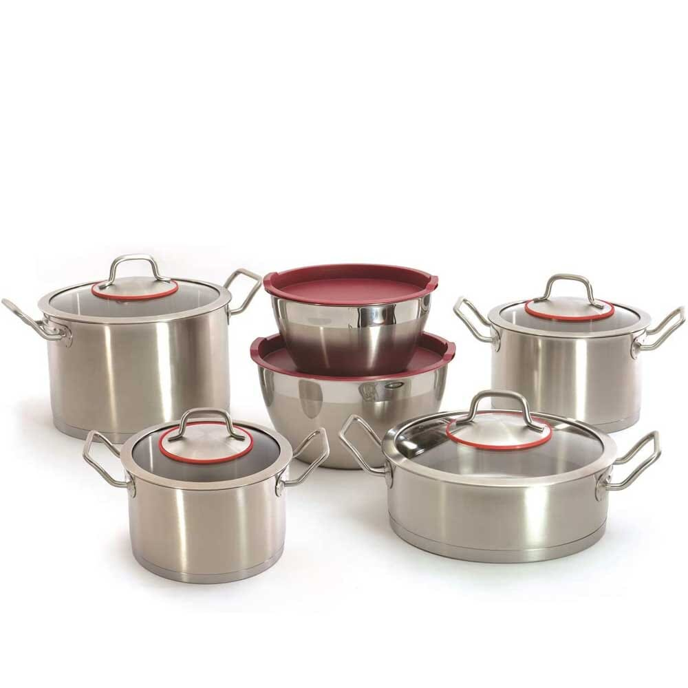 BergHoff - 12 Pcs Stainless Steel - Two Handle Cookware Set